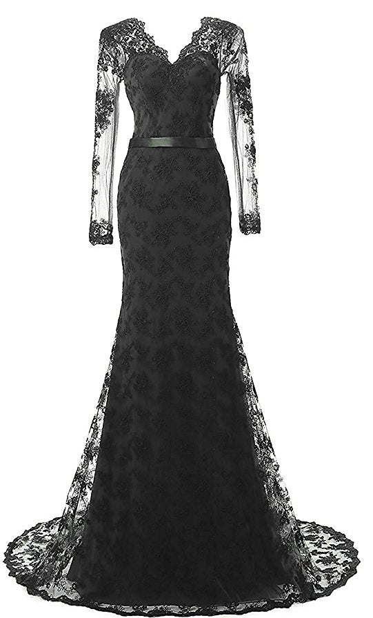 xp163 Long Mermaid Evening Gowns with Sleeves Lace Prom Dresses ... 271cb25b0