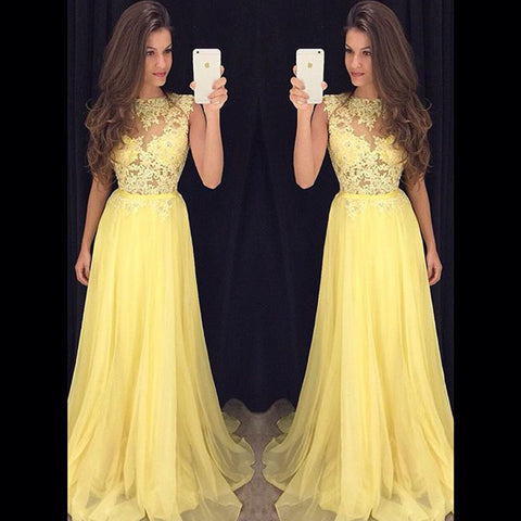 XP18 A line long chiffon lace yellow prom dress,yellow lace evening dress,prom dress 2017