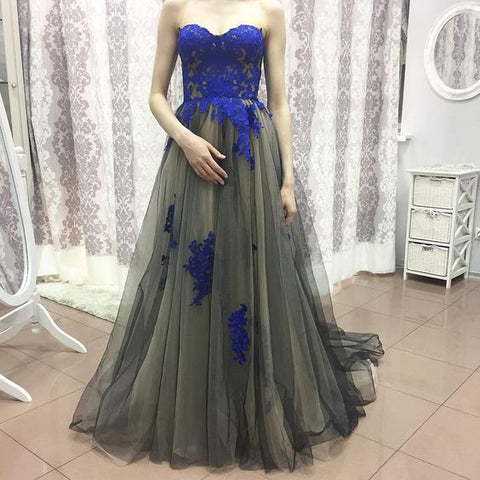 XP226 Top lace tulle long prom dress,gray lace prom dress