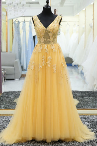 XP23 V Neck Lace Applique A Line Lace Up Back Yellow Long Prom Gown,Formal Evening Party Dress