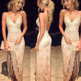 XP44 Spaghetti Straps Backless Split Front Sheath Prom Dresses 2017