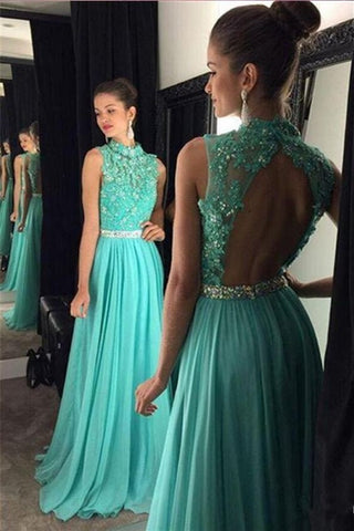 XP90 New High Neck Blue Backless Lace Prom Dress 2017,Applique Prom Dress