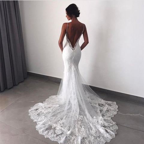 Spaghetti Straps Sexy Backless Lace V-neck Mermaid Wedding Dresses