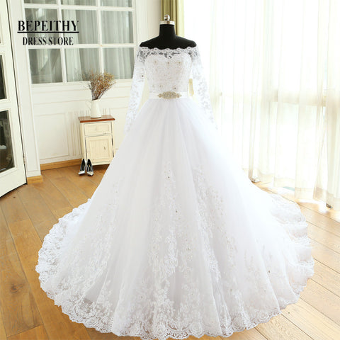 XW54 Long Sleeve Lace Ball Gown Wedding Dress,Lace Ball Gown Bridal Gown,2017 Wedding Dress