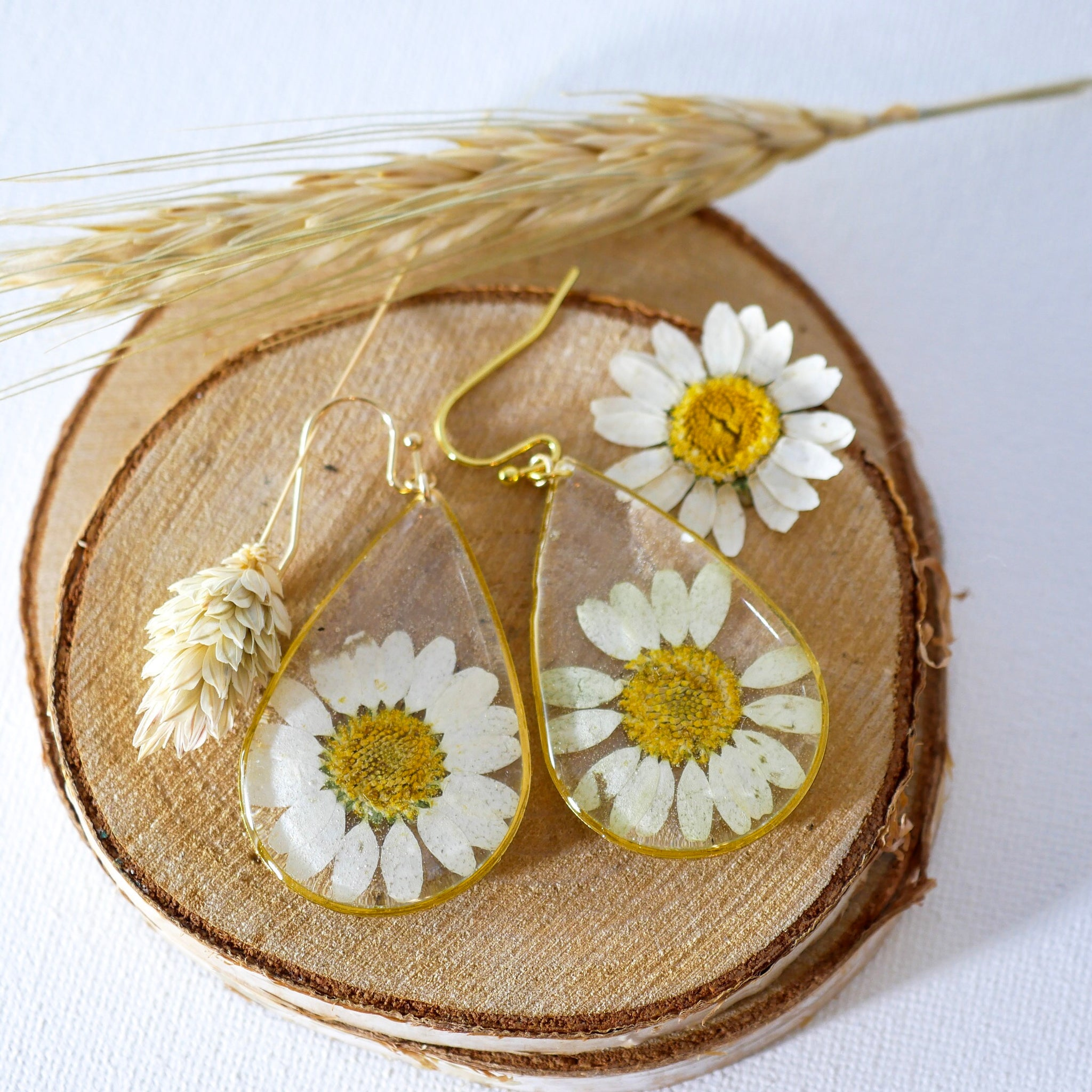 Large Daisy Teardrop Earrings