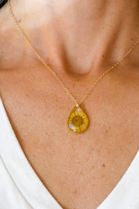 Yellow English Daisy Teardrop Necklace