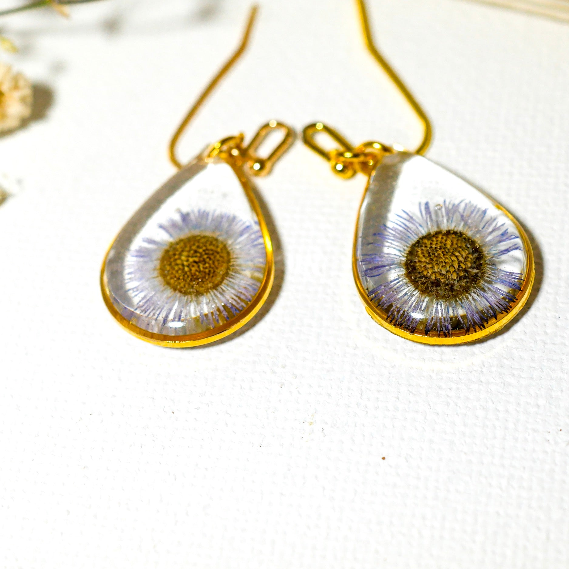 Blue Daisy Teardrop Earrings