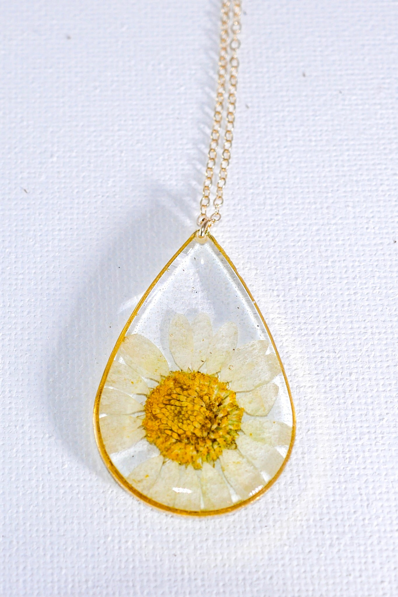 Large Pressed Daisy Teardrop Necklace
