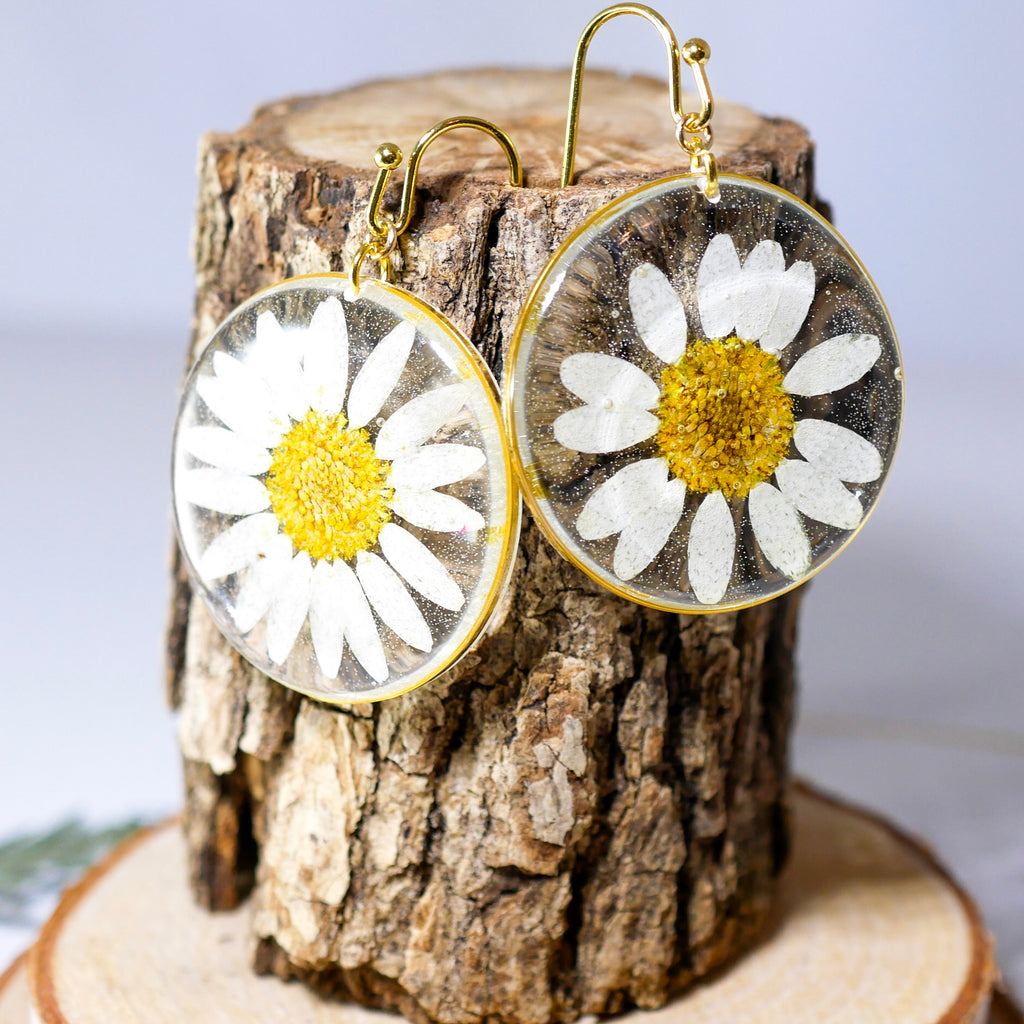Large Daisy Disc Earrings