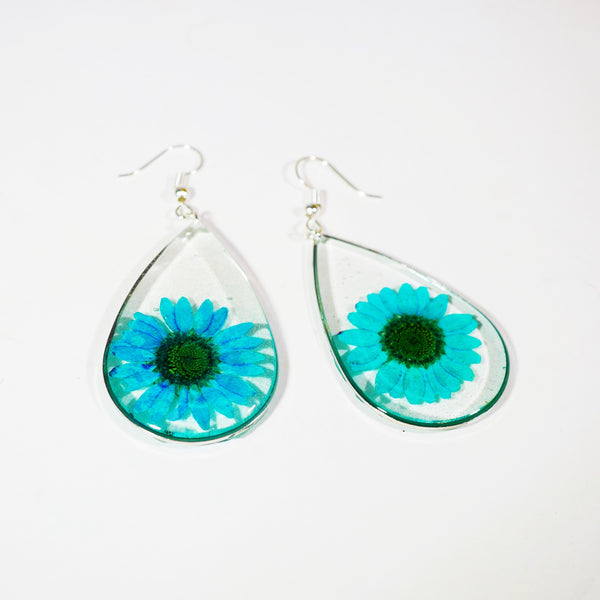 Blue Flower Teardrop  Earrings