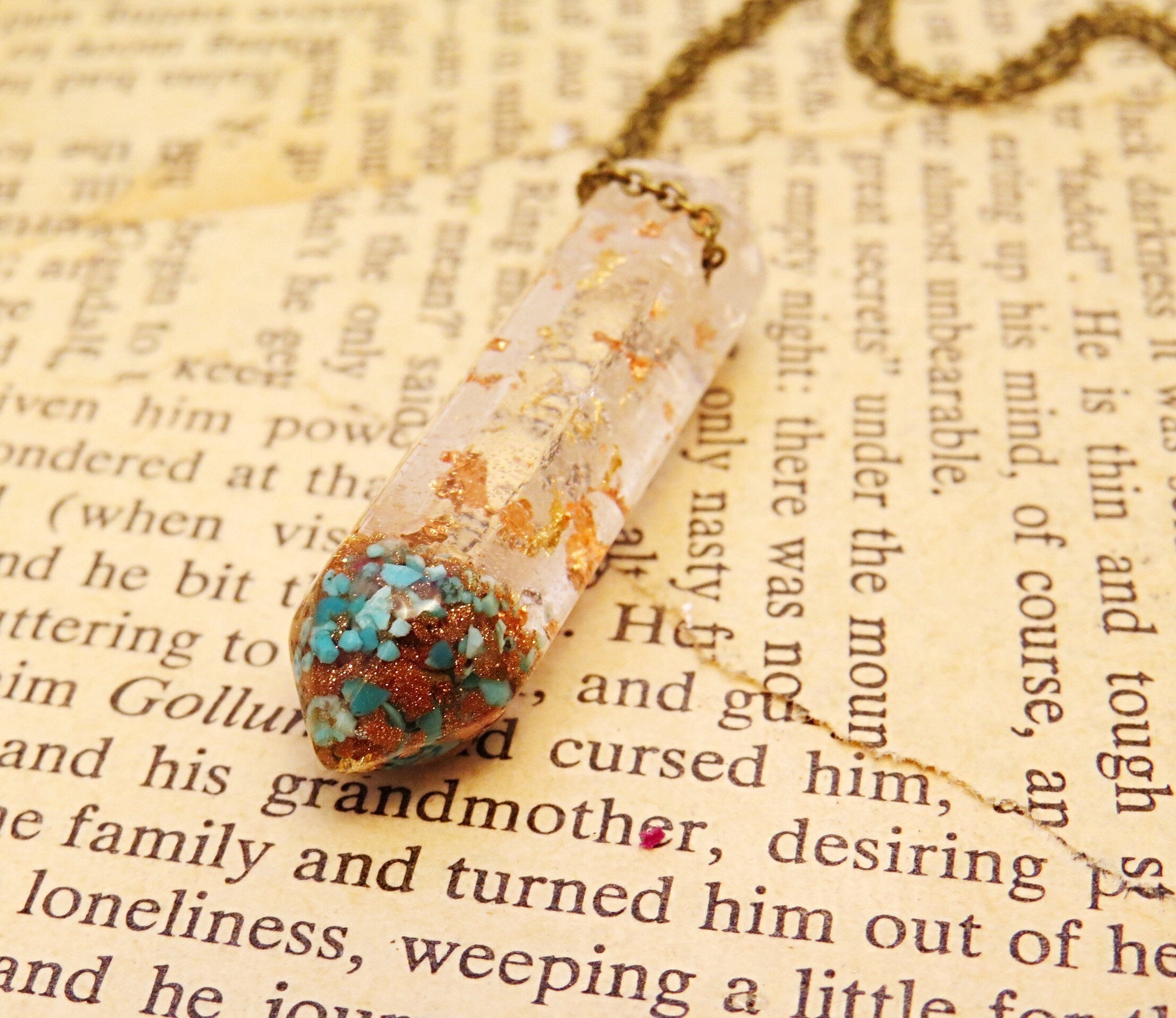 Turquoise Goldstone Crystal Terrarium Necklace Remedy Design Shop