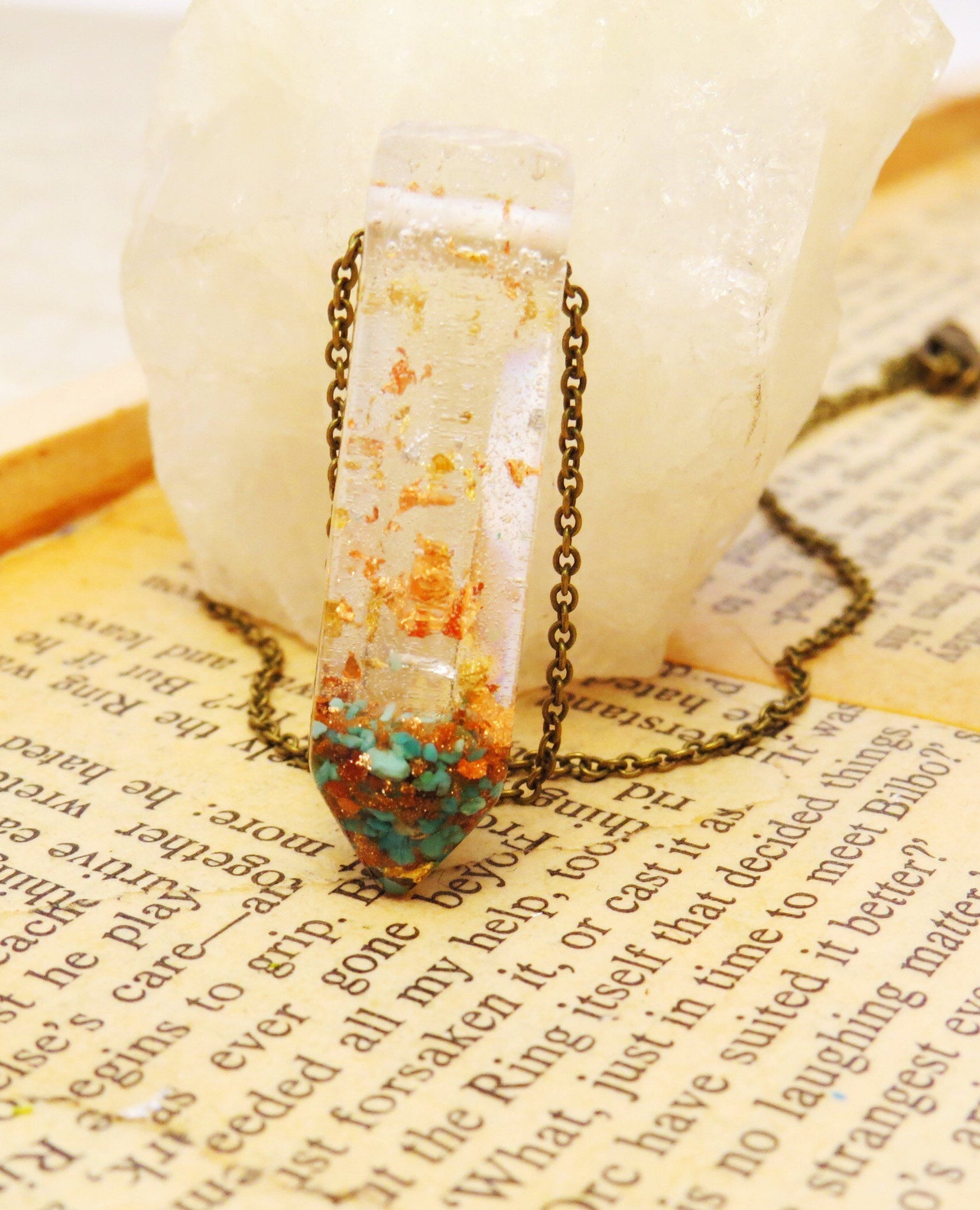 Turquoise & Goldstone Crystal Terrarium Necklace