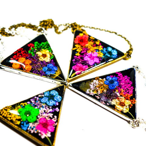 Real Flower Triangle Necklace