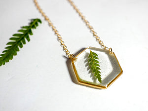 Dainty Fern Hexagon Necklace
