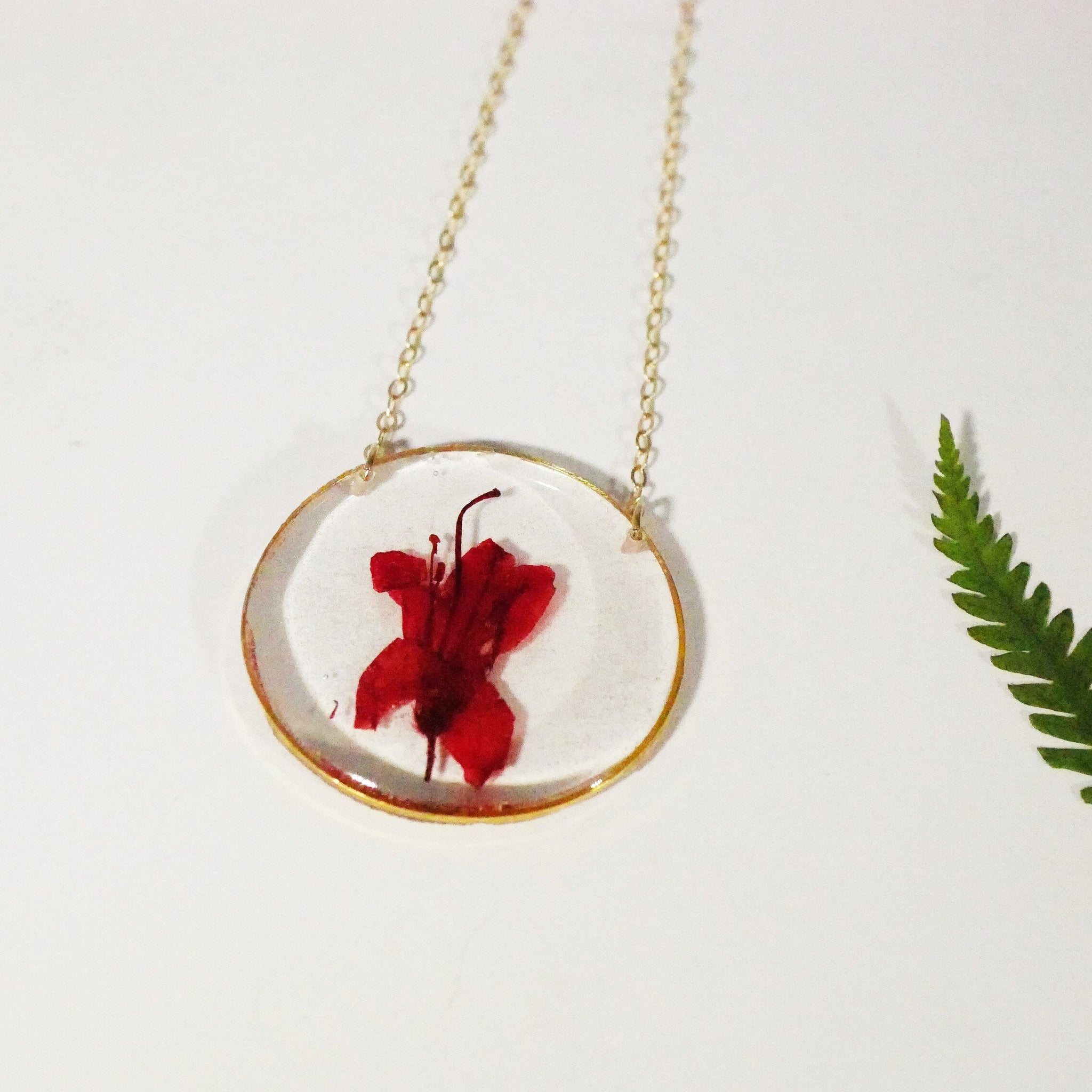 Pressed azalea necklace, Red azalea necklace, real flower necklace Flower terrarium preserved flowers pressed flower jewelry