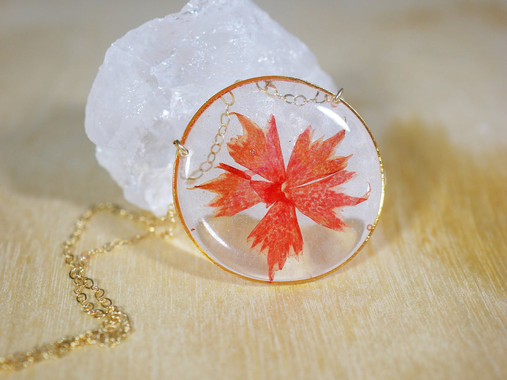 Pressed Red Star Phlox Necklace