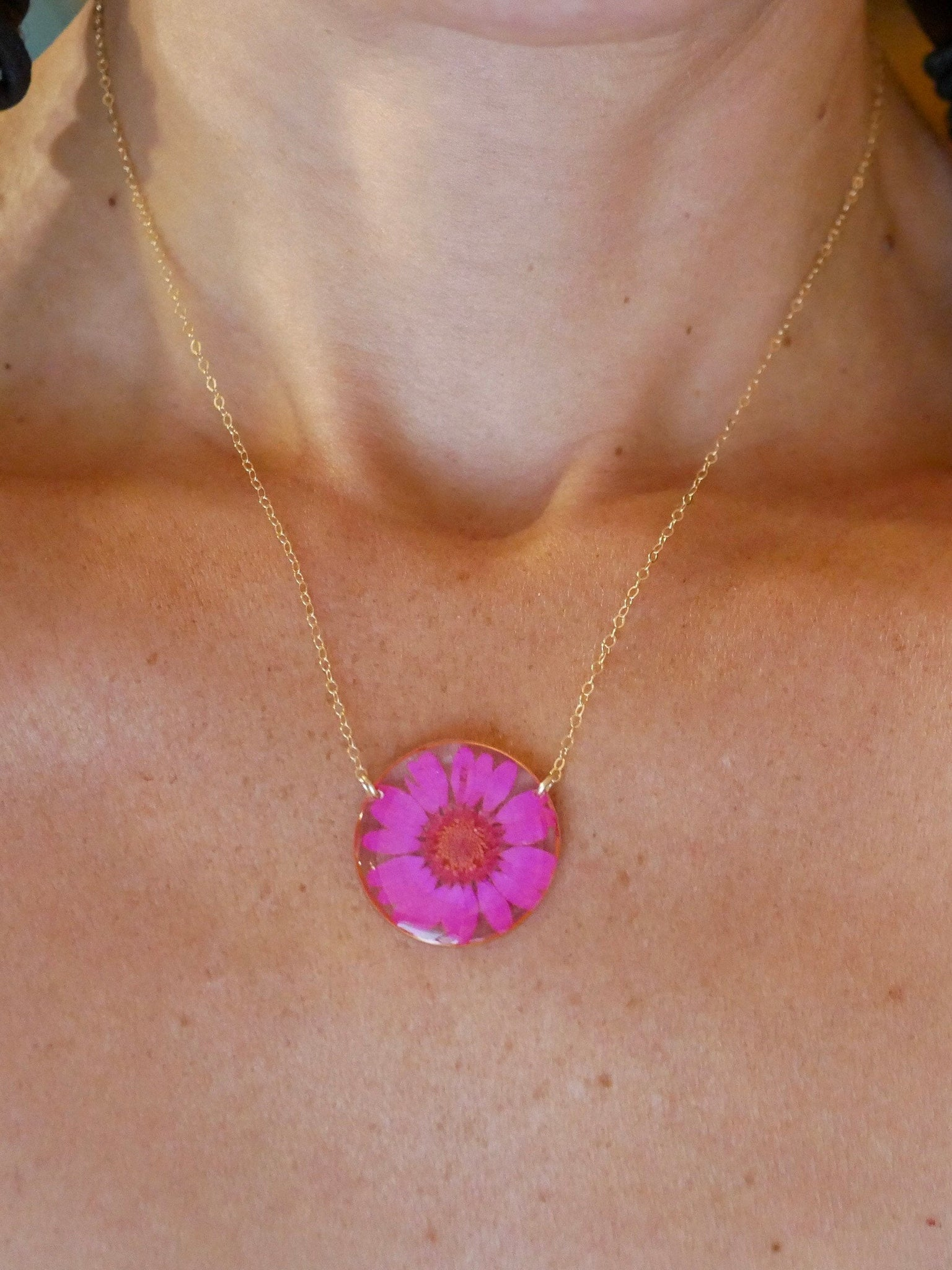 Pink Chrysanthemum necklace