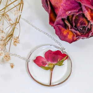 Real rose circle  necklace