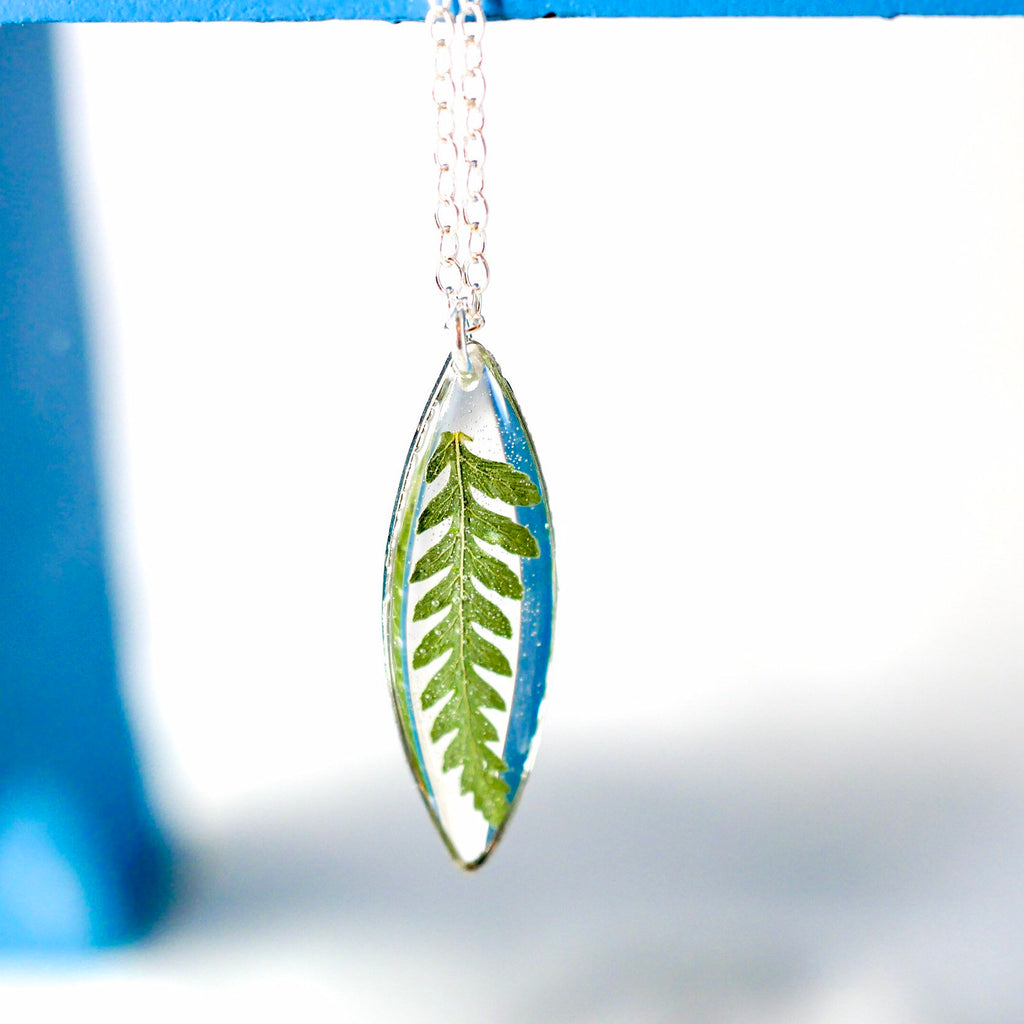 Tiny Fern Marquise Necklace