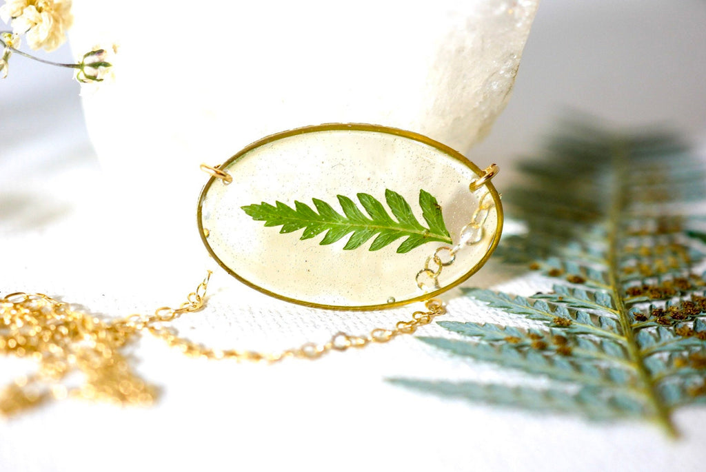 Dainty Pressed Fern Oval Necklace