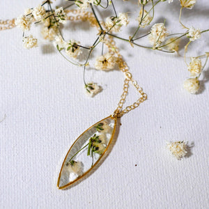 Dainty Pressed Babys Breath Marquise necklace
