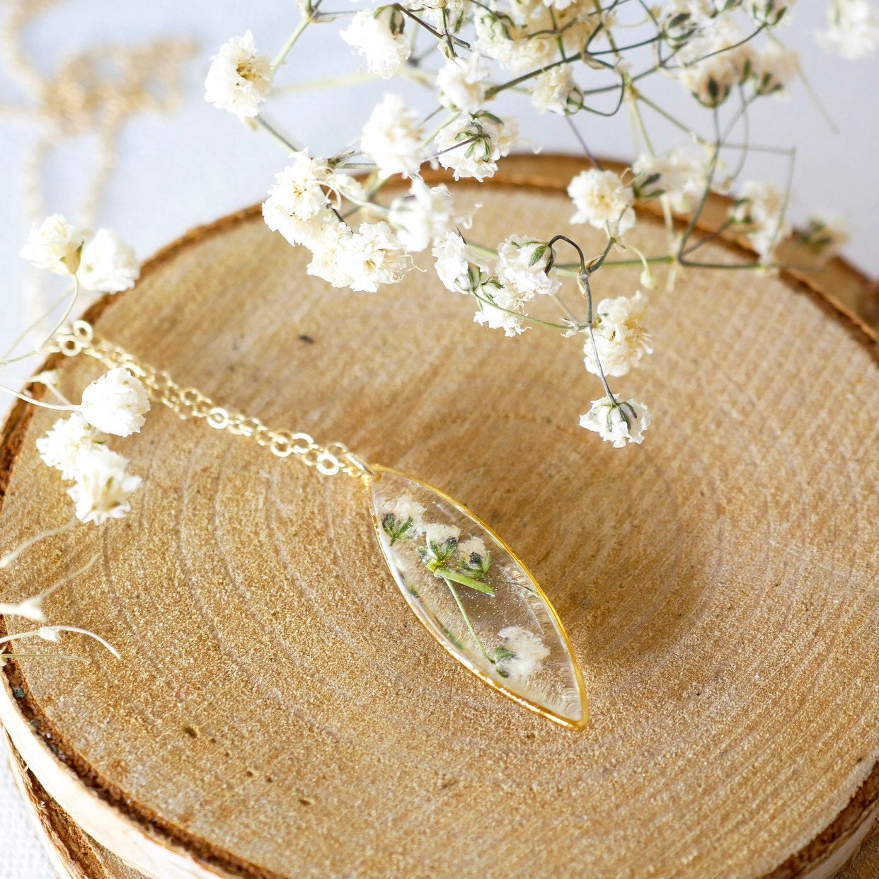 Dainty Real Babys Breath Marquise necklace
