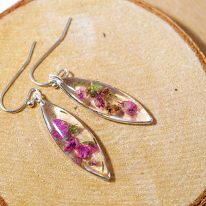 Pressed Heather ellipse earrings, real flower dangles, dainty terrarium earrings, herbarium earrings, woodland bridal