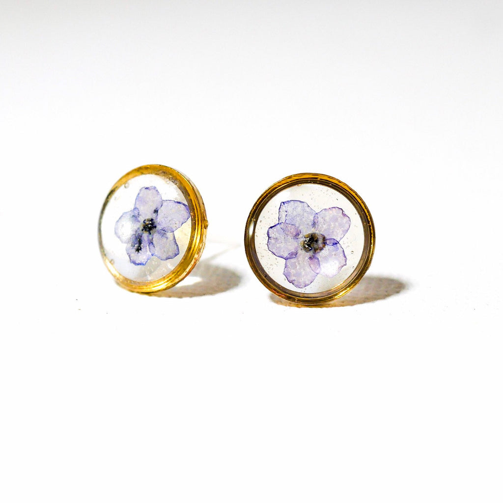 Tiny Forget me not Flower Stud Earrings