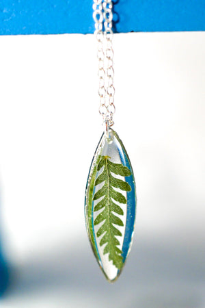 Tiny pressed Fern Marquise Necklace