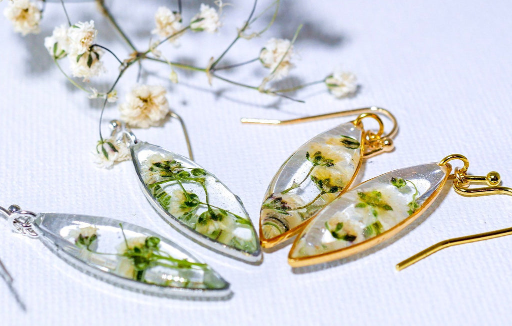 Tiny Babys Breath Marquise earrings