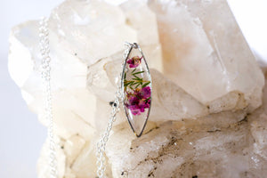 Pressed Heather dainty Marquise Necklace