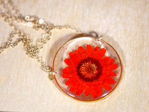 Red Flower Circle Pendant