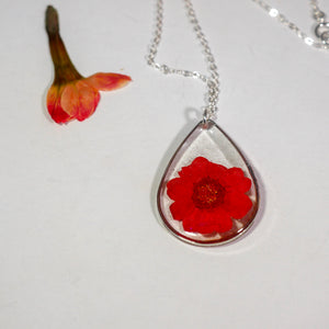 Red Carnation Teardrop Necklace