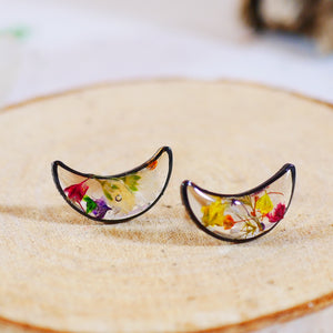 Black Flower Moon studs