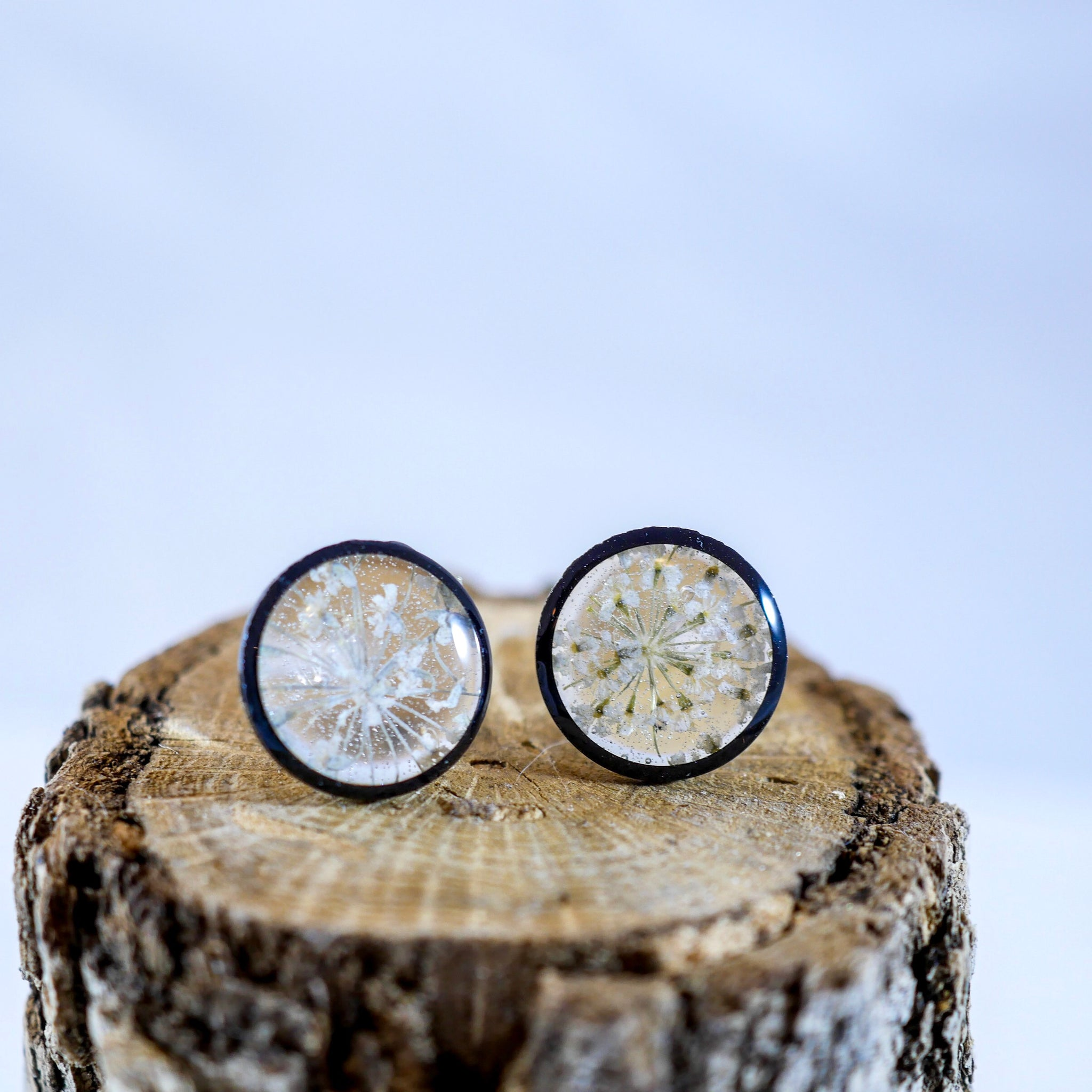 Black and white Queen Annes Lace Stud Earrings