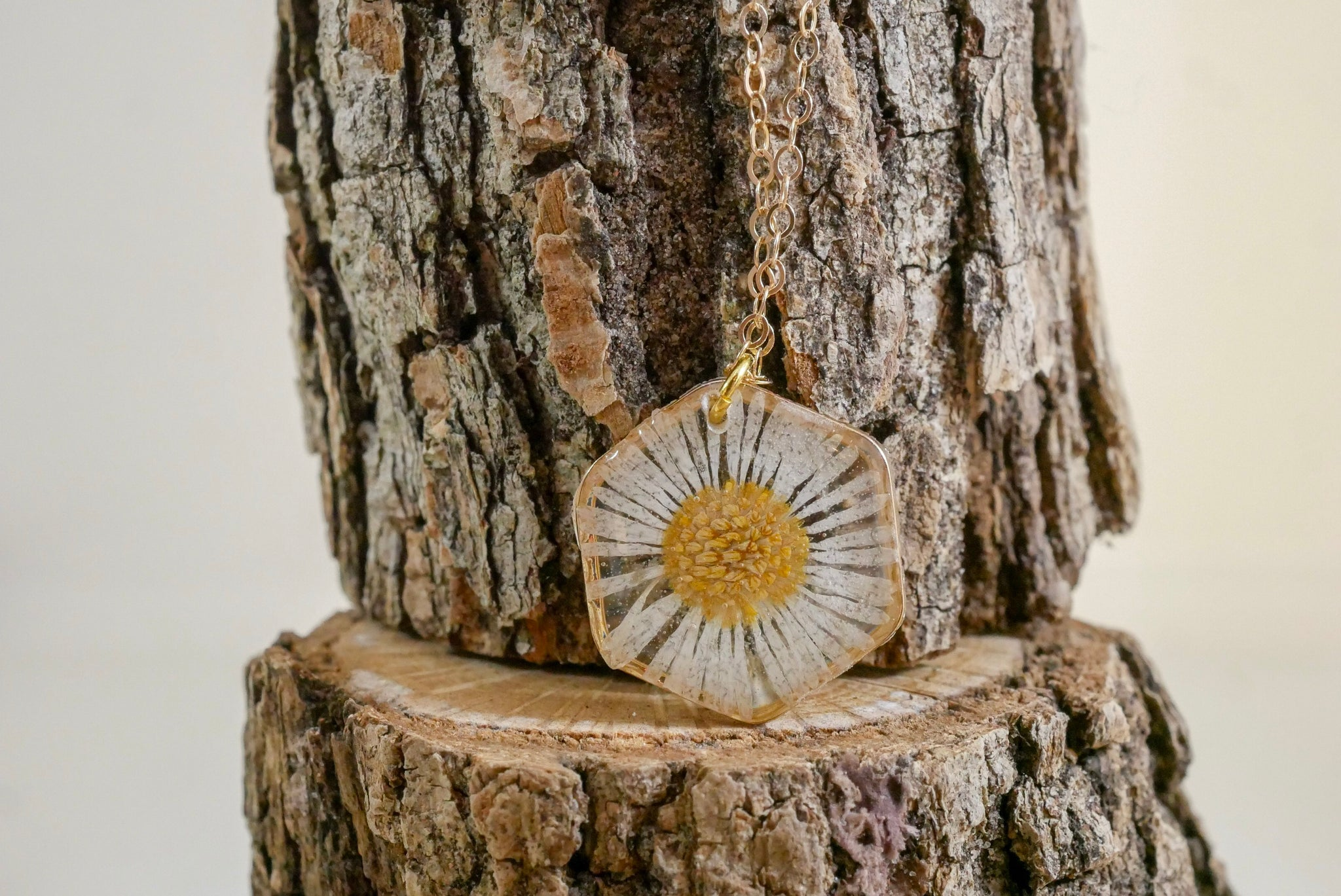Tiny Pressed Daisy Hexagon  Necklace