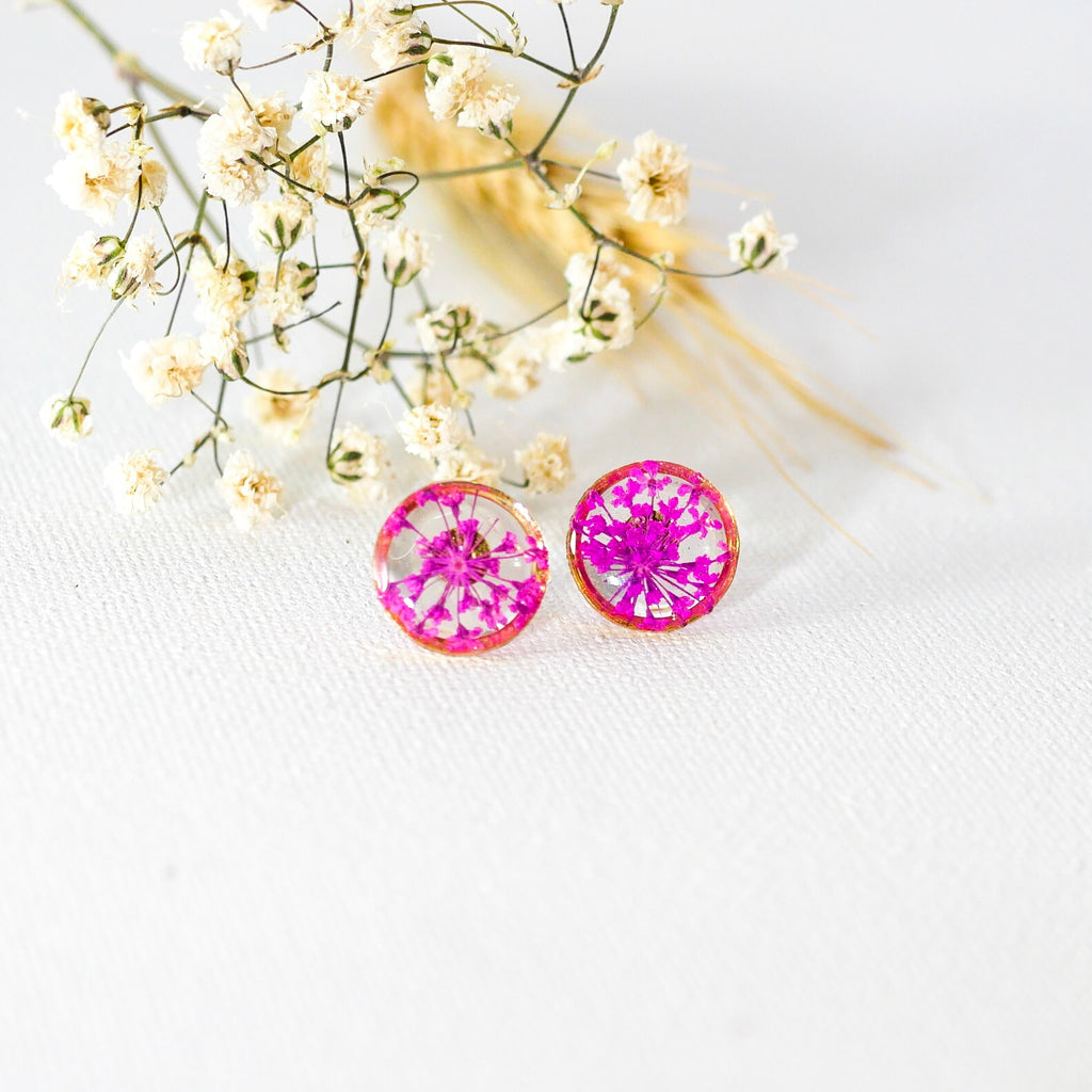 Pink Queen Annes lace Studs