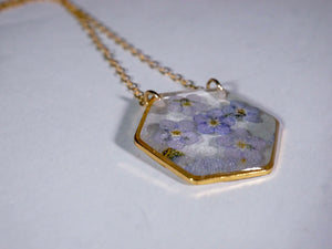 Forget-Me-Not Hexagon Necklace