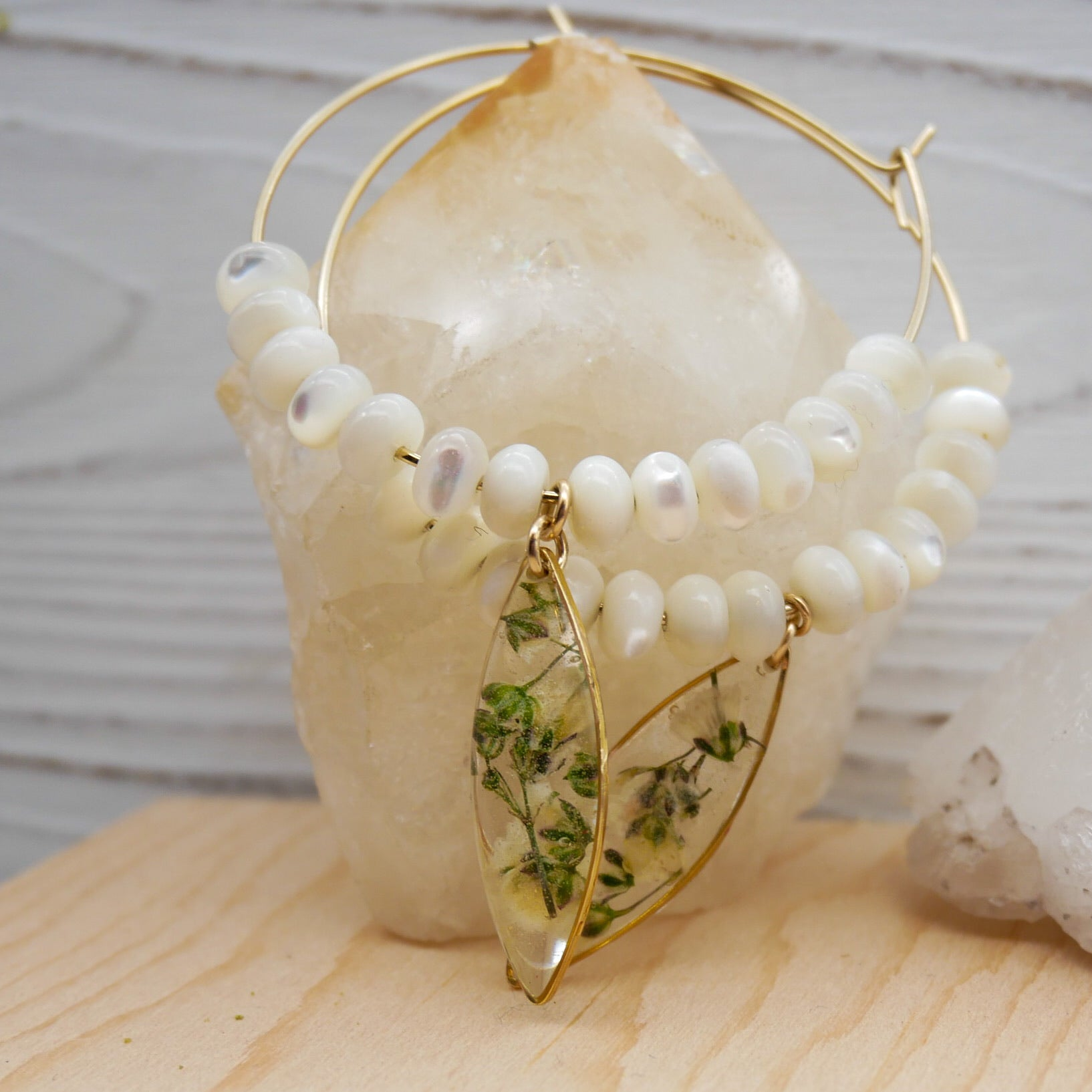 Large Baby's breath fresh water pearl hoops