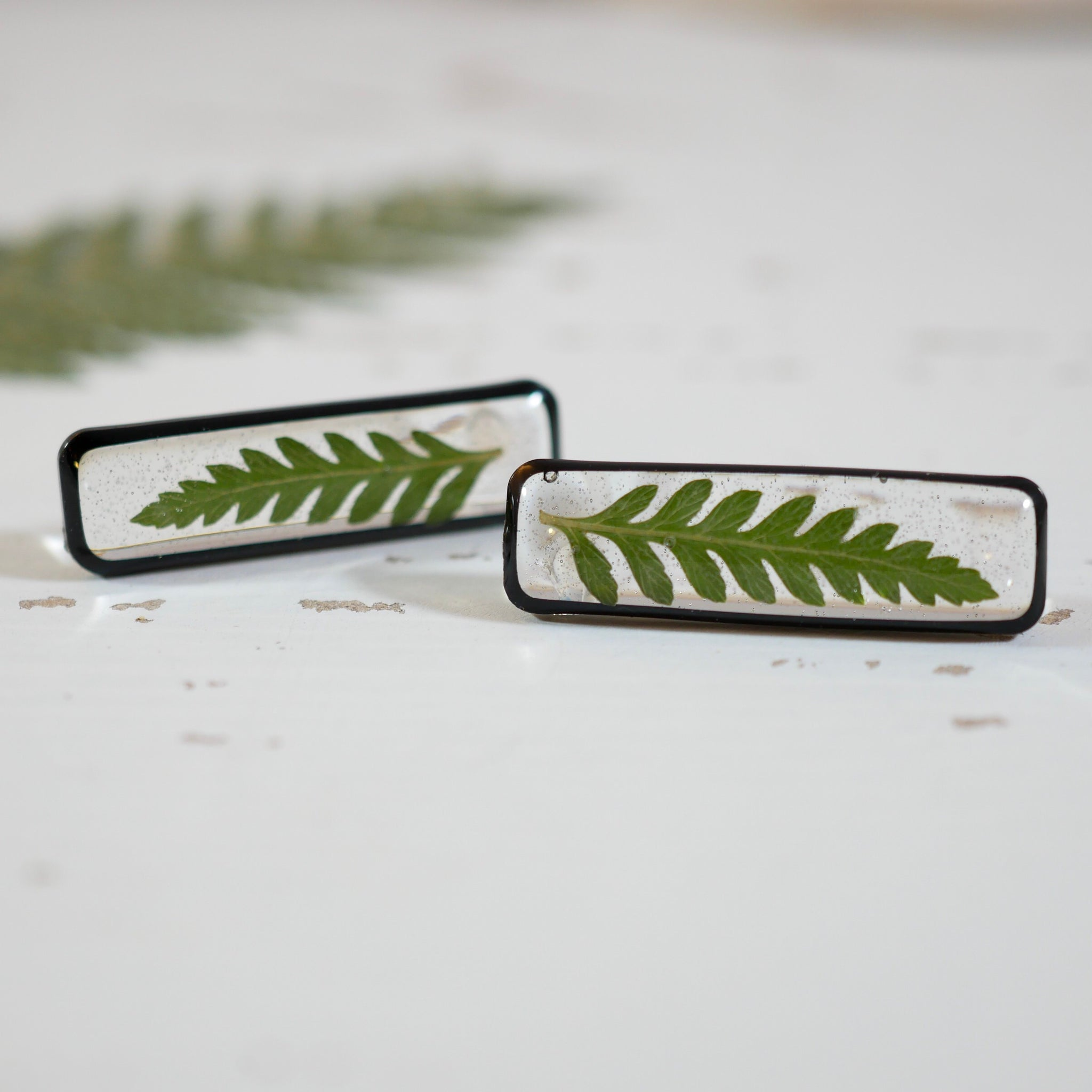 Black vertical Bar Fern Studs