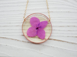 Purple hydrangea necklace