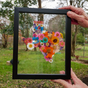 Pressed flower Texas in glass wall art