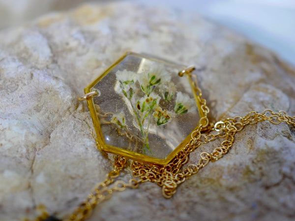 Babies Breath Hexagon Pendant