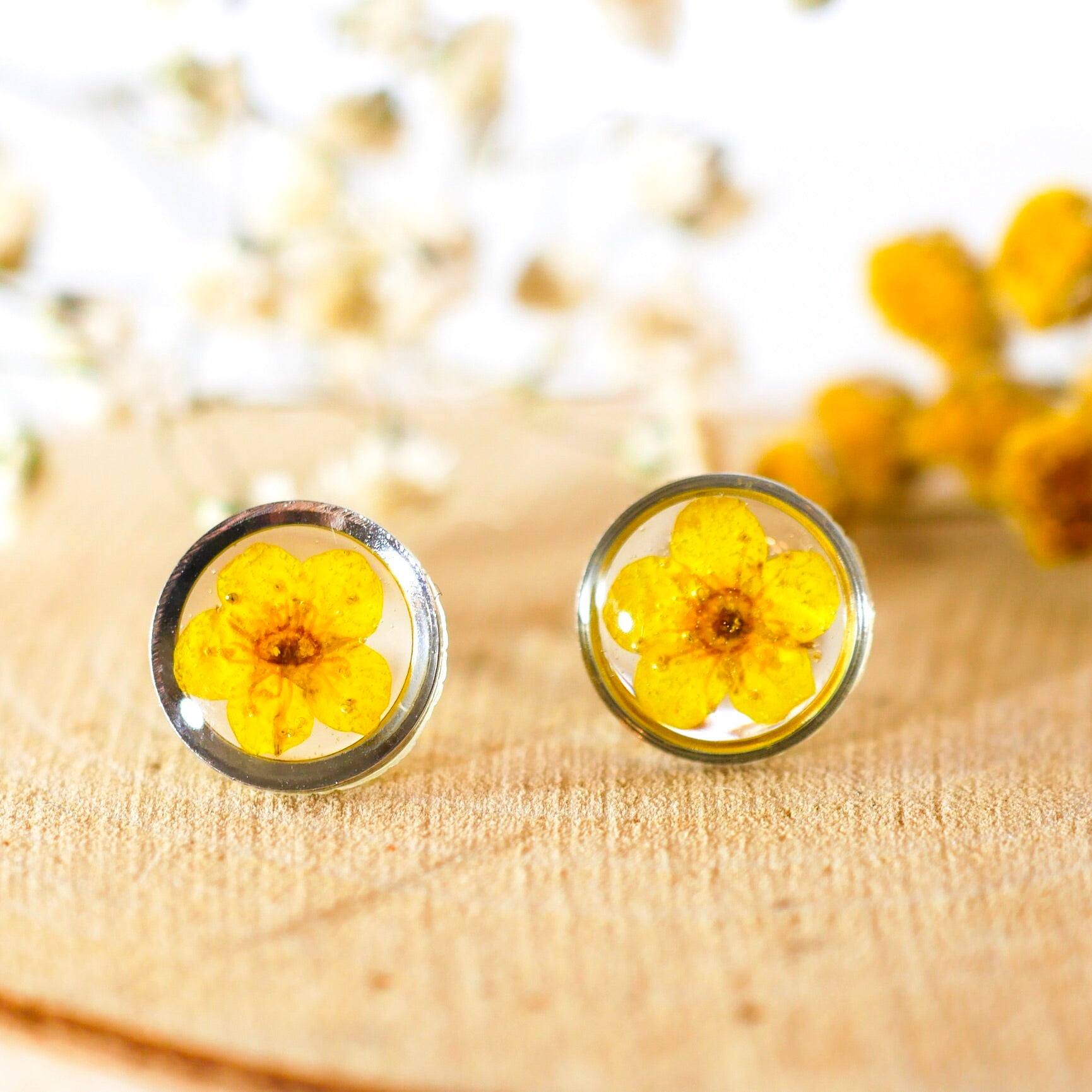 Tiny Yellow flower studs
