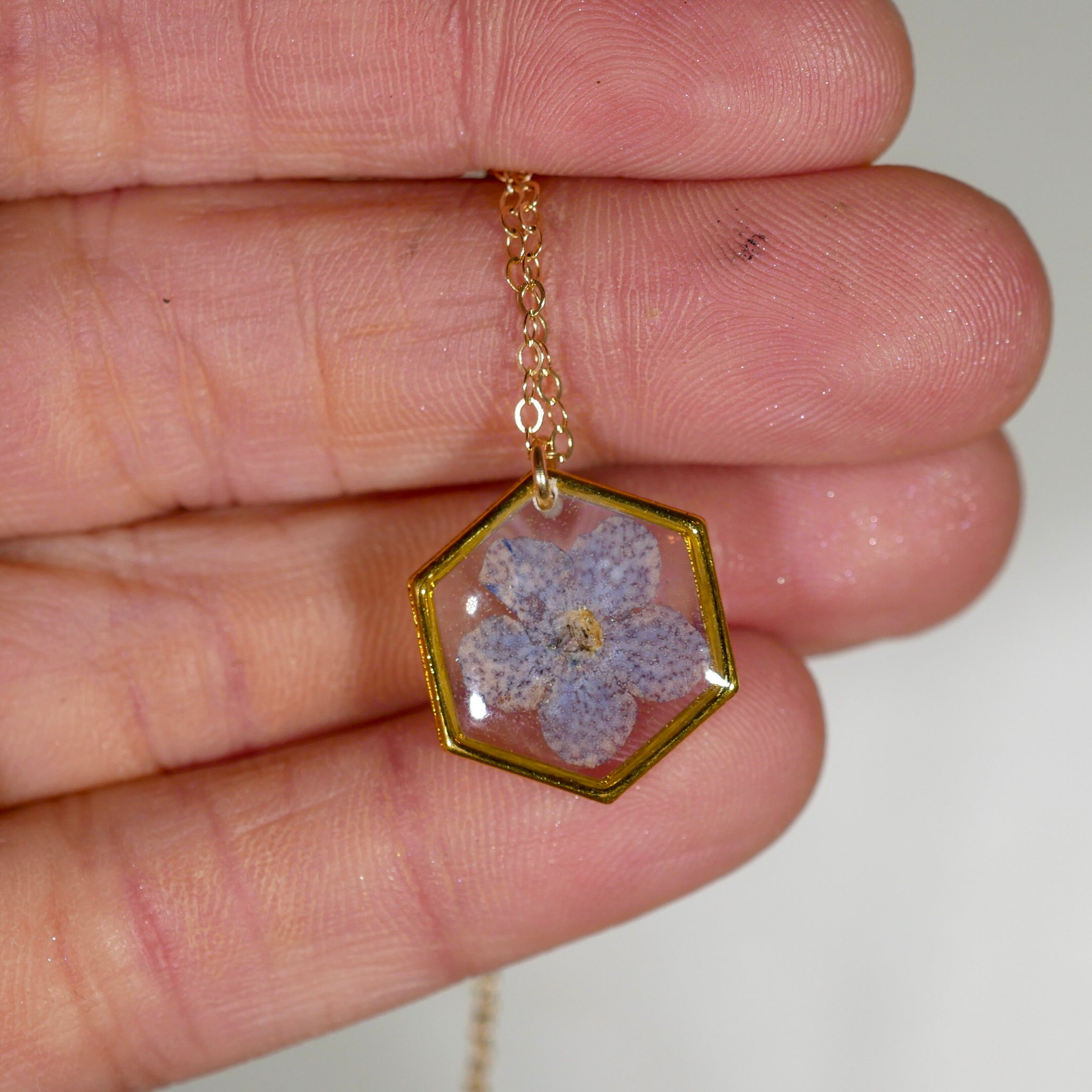 Forget me not tiny hexagon