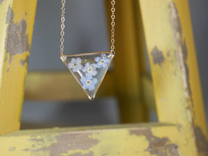 Forget me not Triangle Necklace, gold