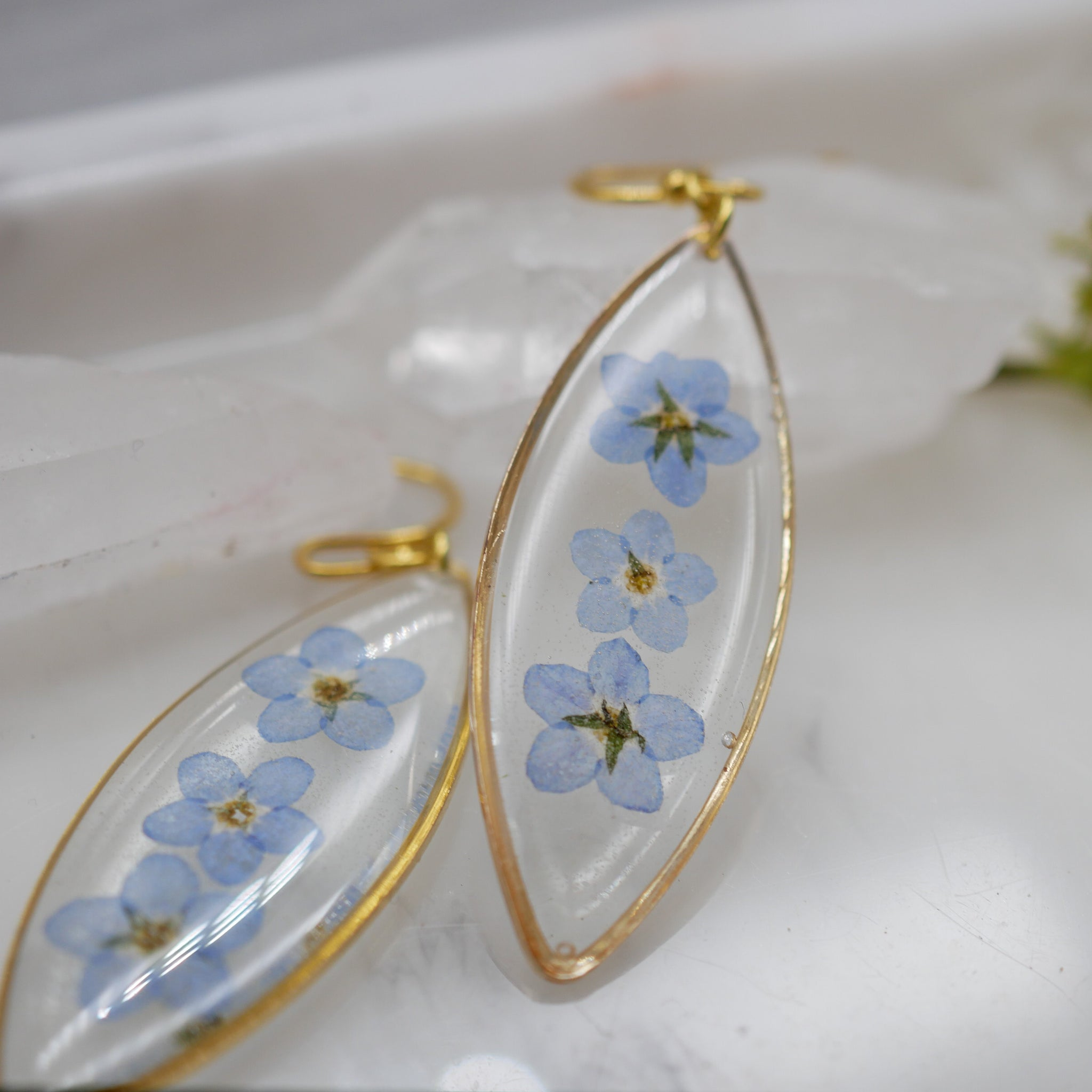 Forget me not ellipse earrings
