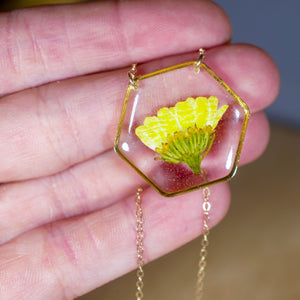 Yellow Chrysanthemum Hexagon Necklace