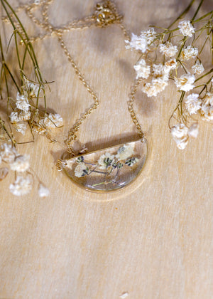 Baby's breath Half Moon Necklace