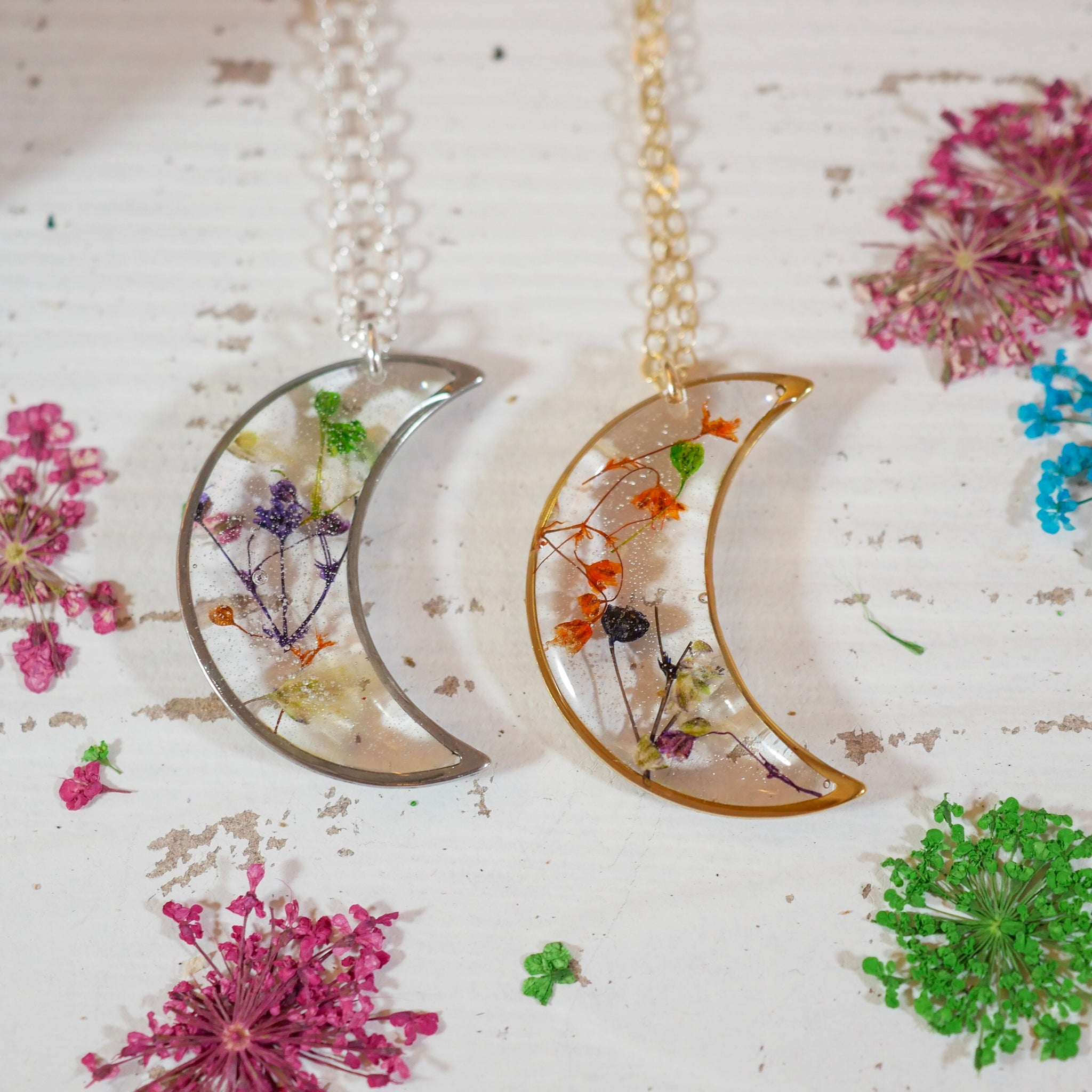 Colorful Babys Breath Moon Pendant